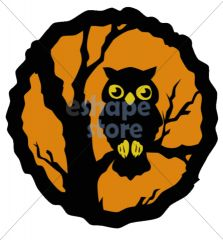 Owl in Tree Circular