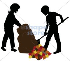 Raking Leaves Silhouette