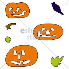 Pumpkins w Crow Leaves